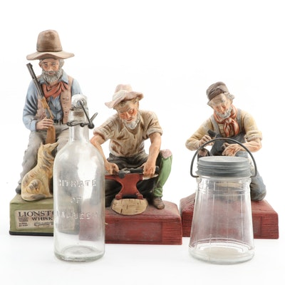Lionstone Figural Porcelain Whiskey Decanters and Glass Bottle and Lidded Jar
