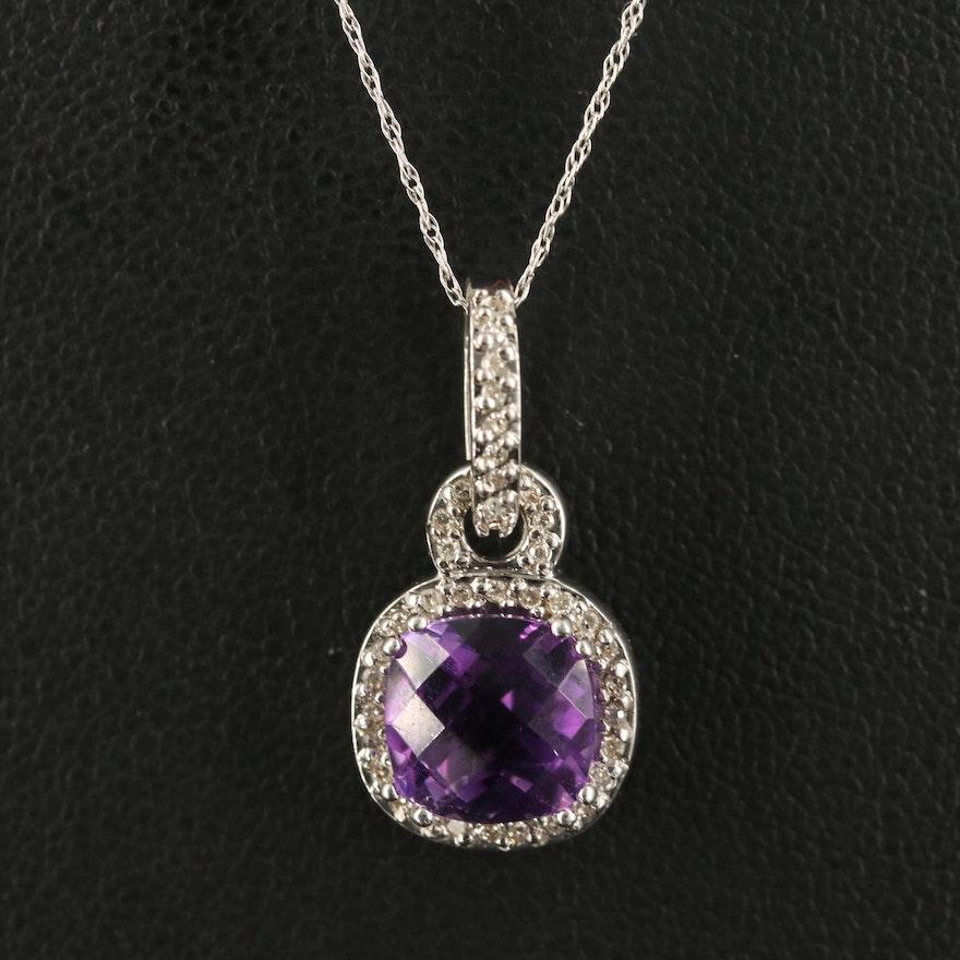 10K Amethyst and Diamond Pendant Necklace