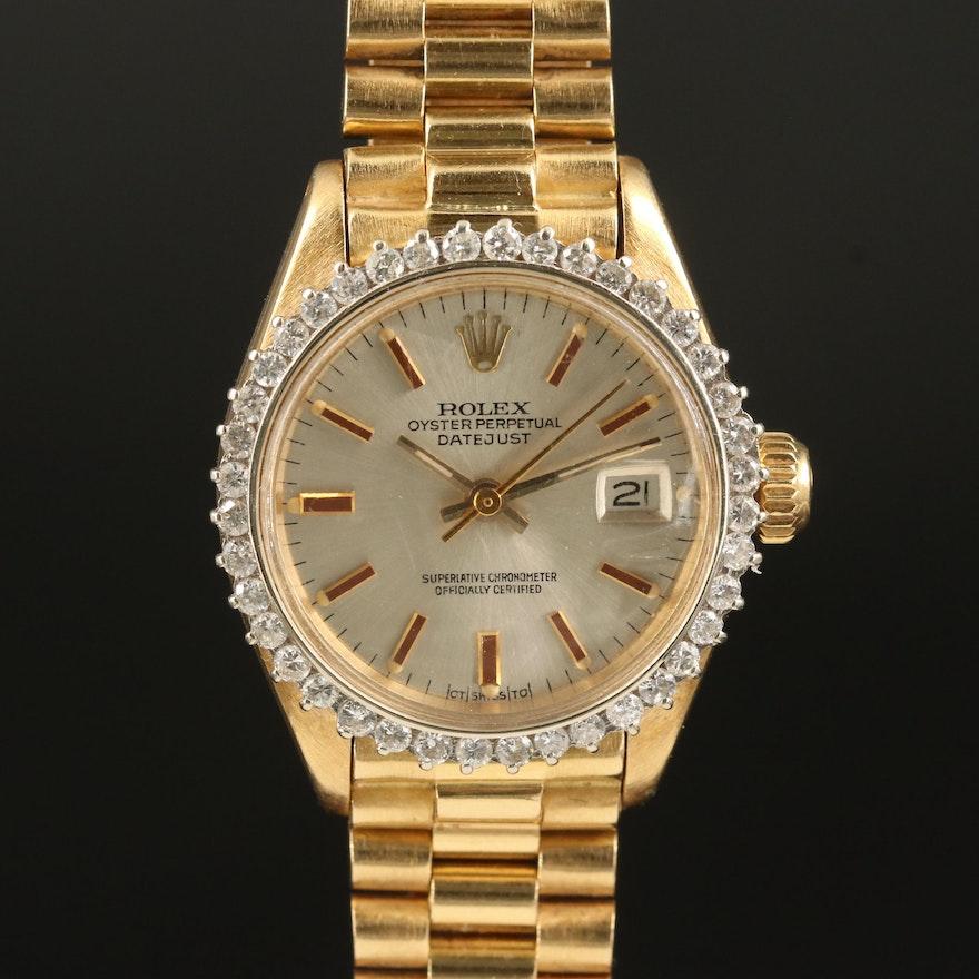 """1973 Rolex """"Datejust President"""" 18K 1.00 CTW Diamond Automatic Wristwatch"""