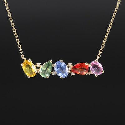 EFFY 14K Sapphire and Diamond Stationary Pendant Necklace