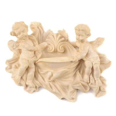 Baroque Style Angel Figural Holy Water Font, Mid to Late 20th Century