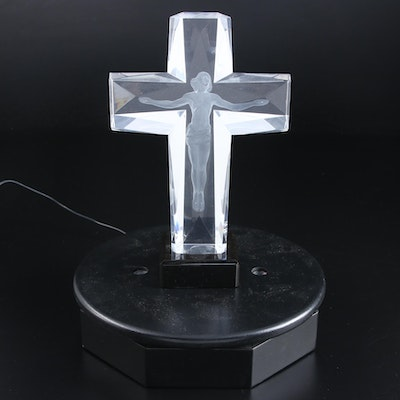 "Frederick Hart 3D Laser Etched Acrylic Sculpture ""Cross of the Millenium,"" 1995"