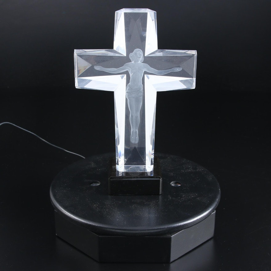 """Frederick Hart 3D Laser Etched Acrylic Sculpture """"Cross of the Millenium,"""" 1995"""