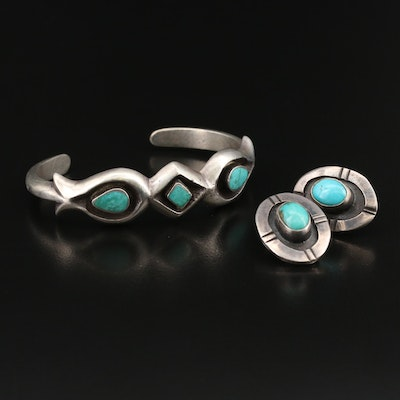 Southwestern Sterling Turquoise Shadow Box Cuff and Earrings