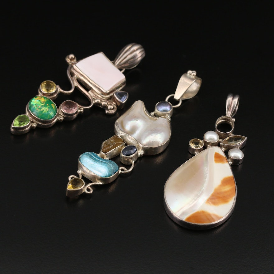 Sterling Silver Pendants with Shell and Pearl