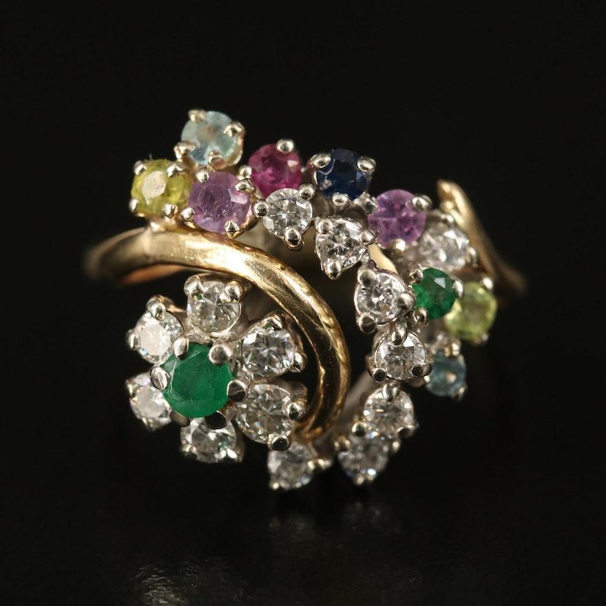 14K Emerald, Sapphire, Diamond and Gemstone Ring