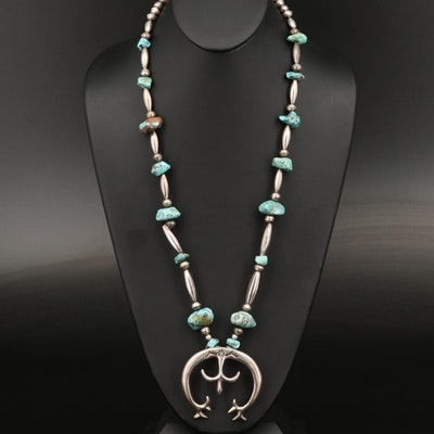 Fannie Platero Navajo Diné Sterling Turquoise Naja Pendant Necklace