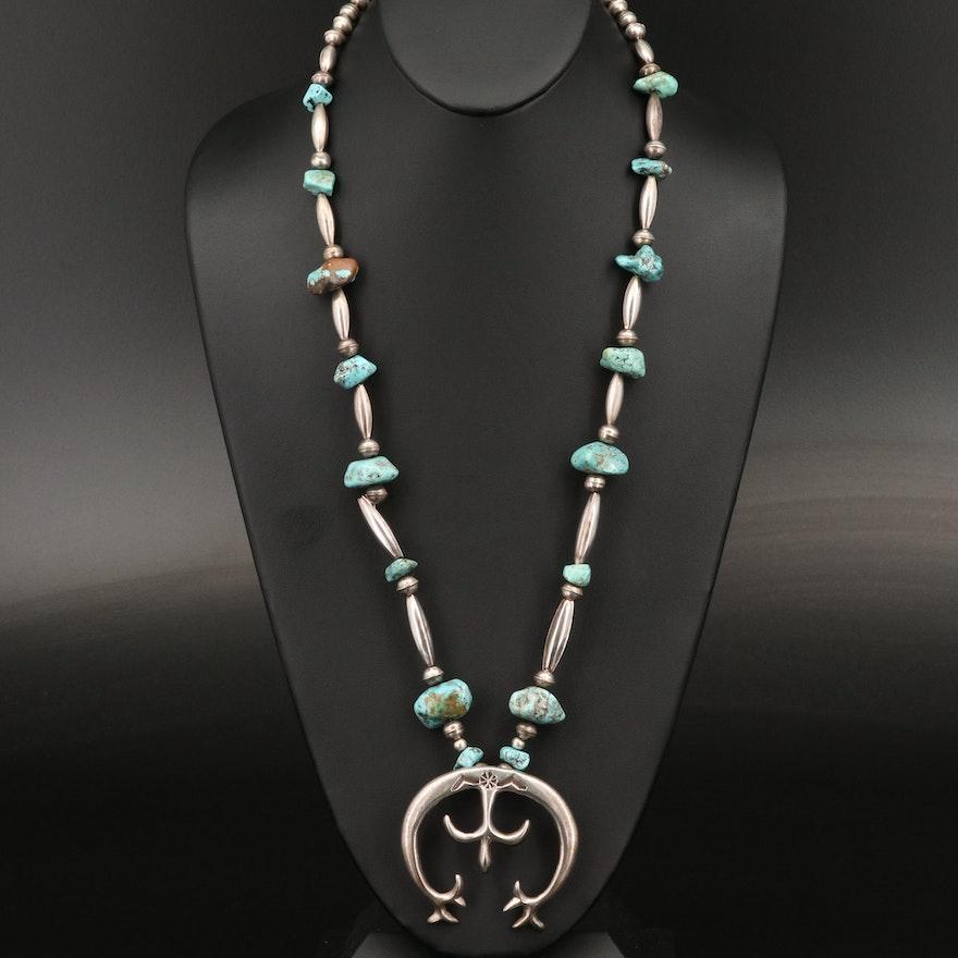 Fannie Platero Navajo Diné Sterling Turquoise Naja Pendant Necklace