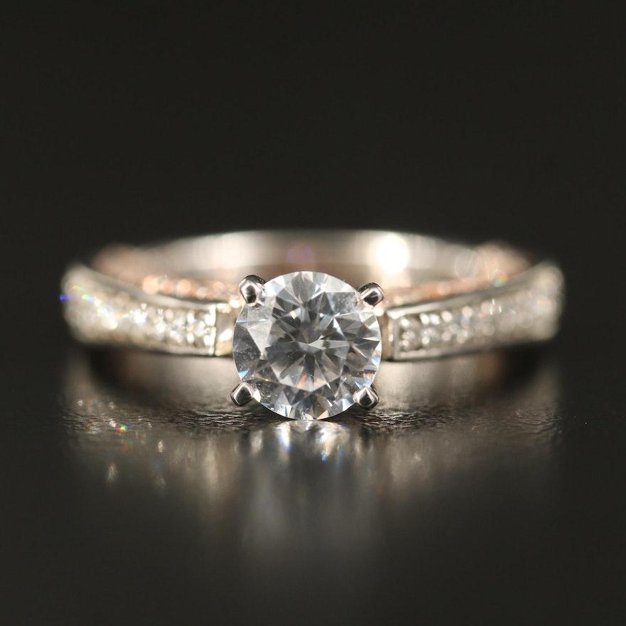 14K Two-Tone Diamond Semi-Mount Ring with Cubic Zirconia Center