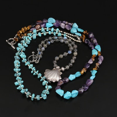 Bead Necklaces Featuring Moonstone, Turquoise, Agate and Sterling