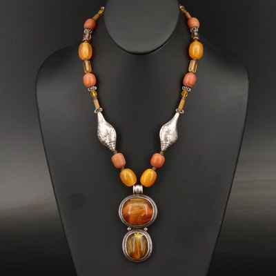 Contemporary Tibetan Handcrafted Necklace in the Classic Tribal Jewelry Style