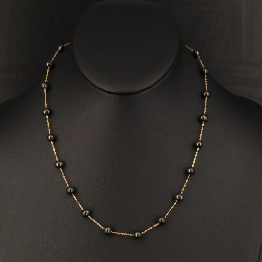 EFFY 14K Oval Pearl Station Necklace