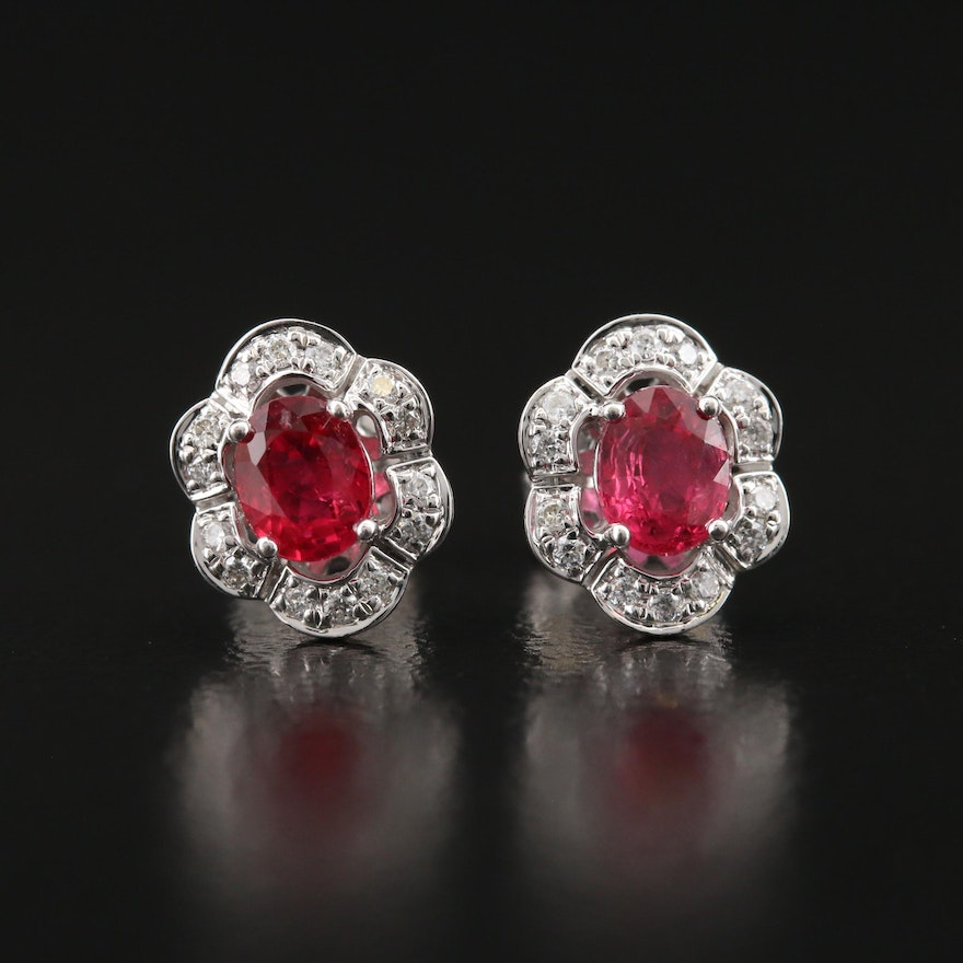 14K Ruby and Diamond Earrings with Scalloped Edge