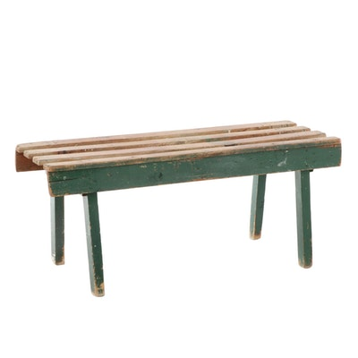 American Primitive Green-Painted Pine Bench, 20th Century