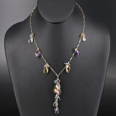 14K Multi-Gemstone Fringe Necklace with Center Drop Cluster