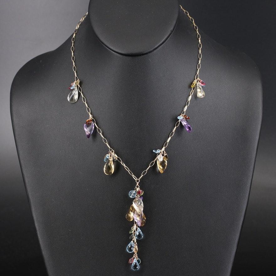 14K Multi-Gemstone Fringe Necklace with Center Drop Cluster
