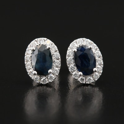 14K Sapphire and Diamond Halo Earrings