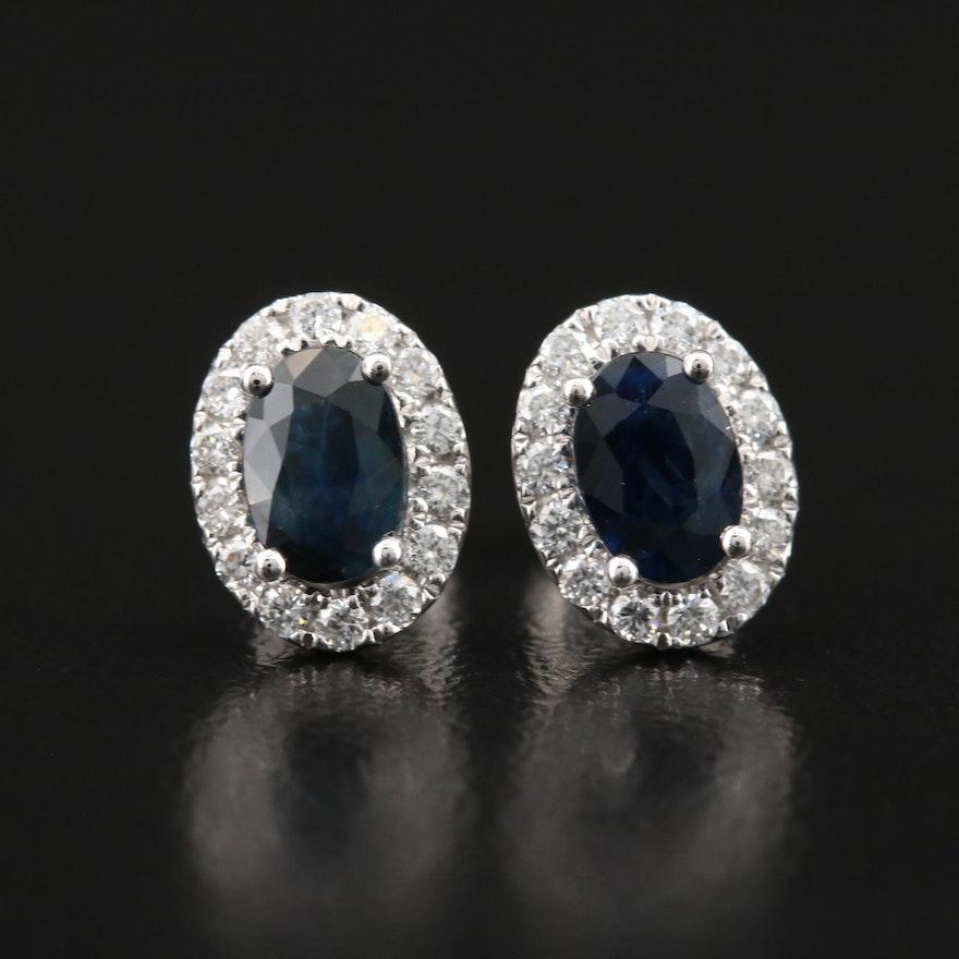 14K Sapphire and Diamond Halo Earrings