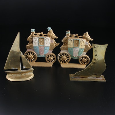 Andrea by Sadek Brass Sailboat Figurine and Other Brass and Cast Iron Décor