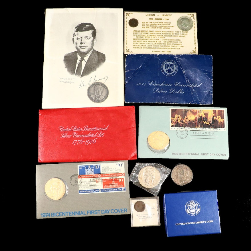 Assortment of U.S. Coins and Medals, Including Silver