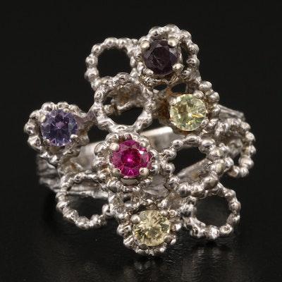 14K Sapphire and Alexandrite Openwork Ring