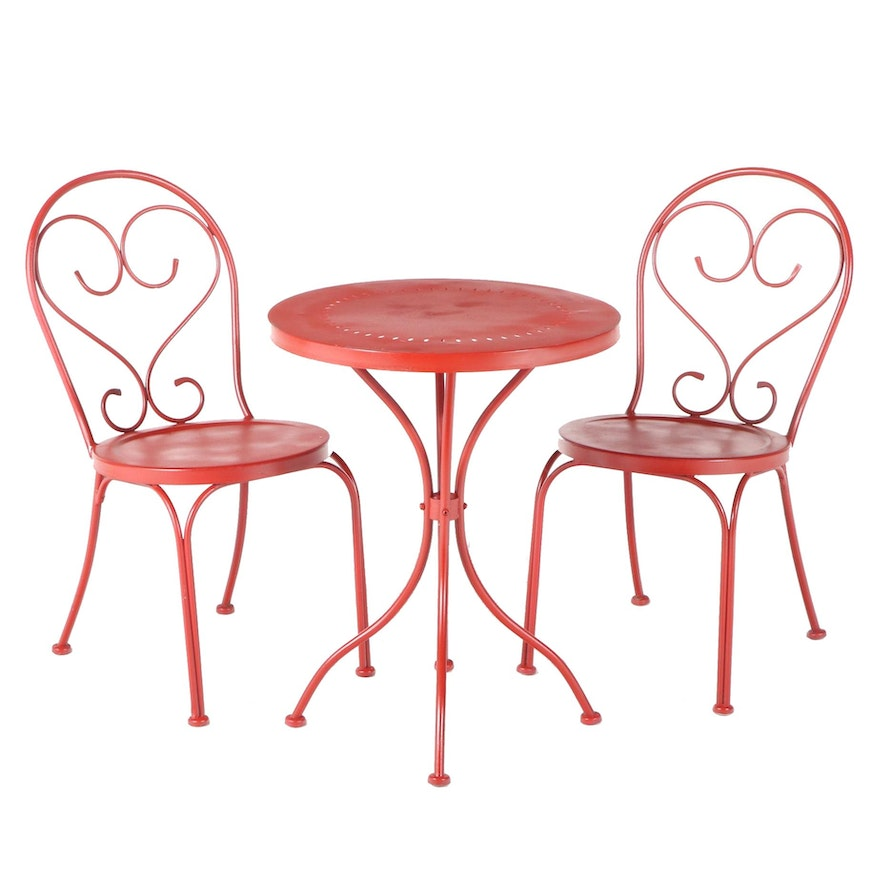 Red-Painted Metal Three-Piece Café Table and Chair Set