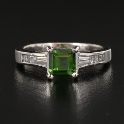 Jeff Cooper Platinum Diopside and Diamond Ring