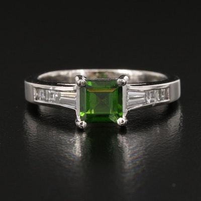 Jeff Cooper Platinum Diopside and Diamond Ring