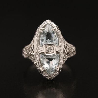 1930s 18K Aquamarine and Diamond Ring