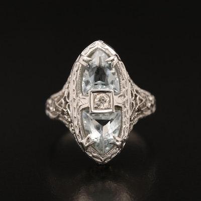1930s 18K Aquamarine and Diamond Ring
