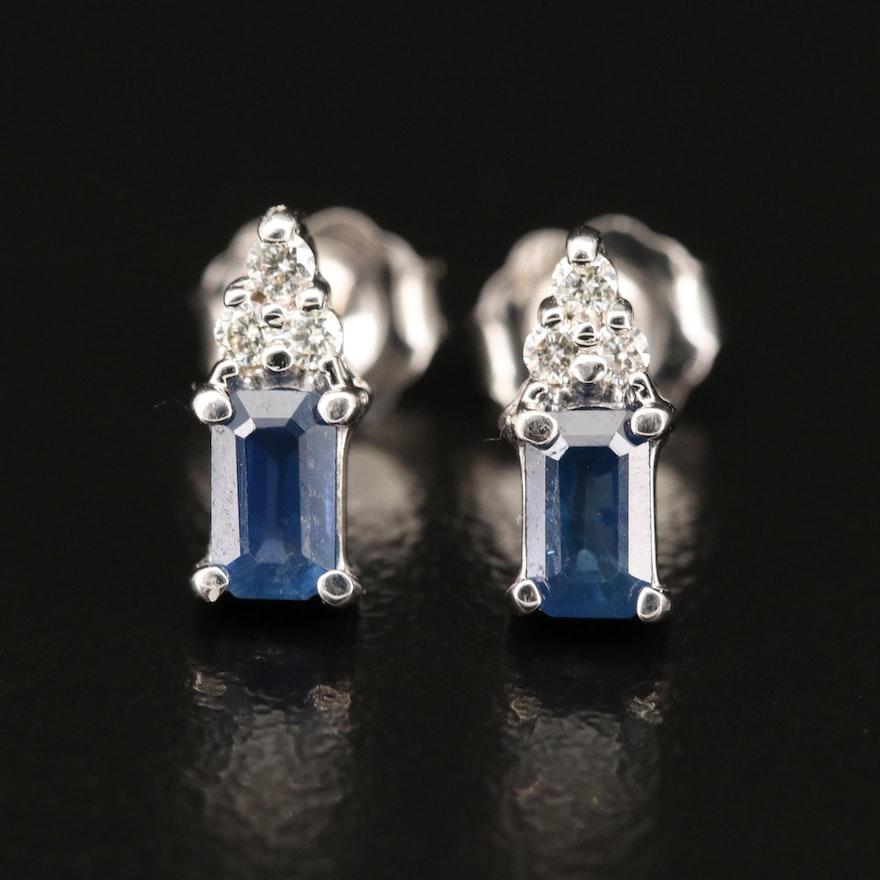 EFFYT 14K Sapphire and Diamond Stud Earrings