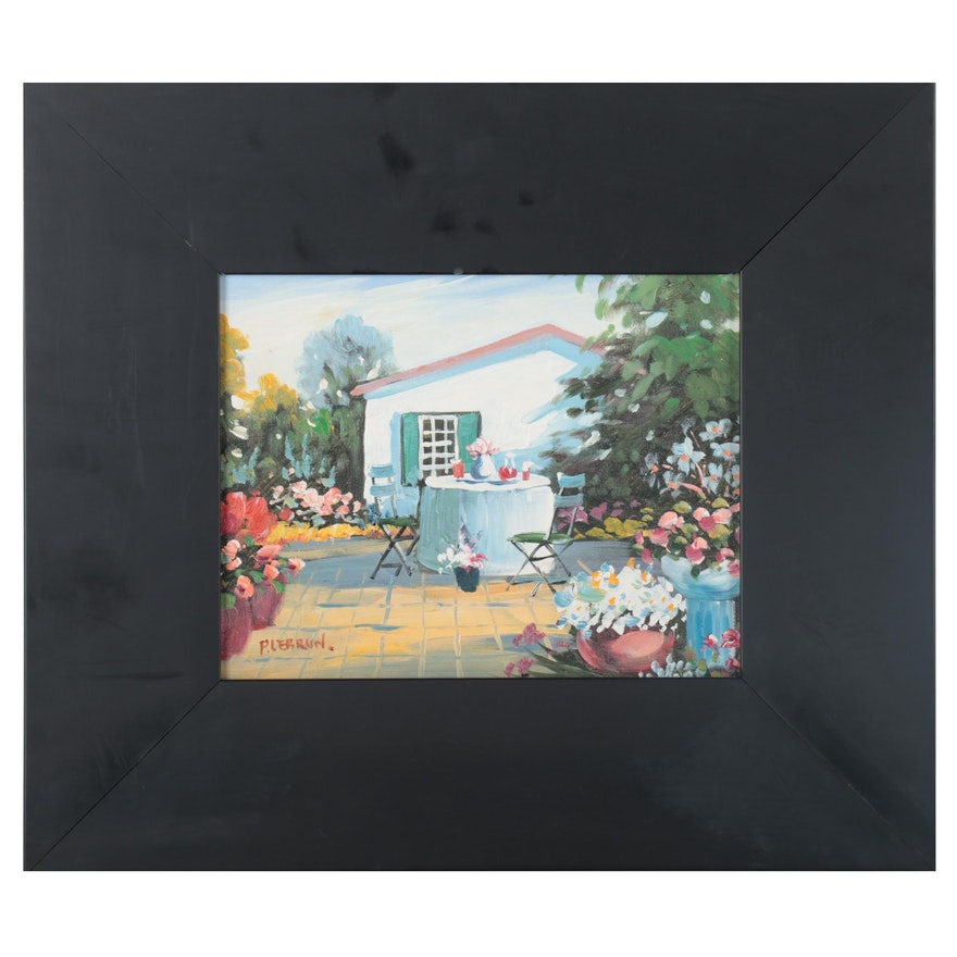 Garden Courtyard Oil Painting, 21st Century