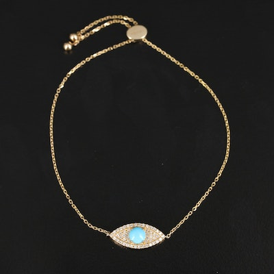 EFFY 14K Turquoise and Diamond Evil Eye Bolo Bracelet