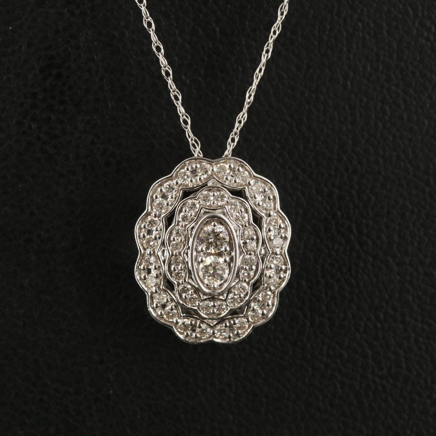 14K Diamond Scalloped Pendant Necklace