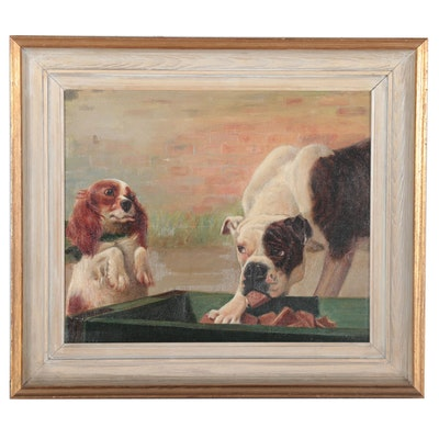 Oil Painting of Dogs, Mid-20th Century