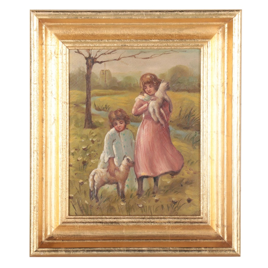 Oil Painting of Children with Lambs, Late 20th Century