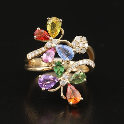 EFFY 14K Sapphire, Diamond and Gemstone Butterfly Ring