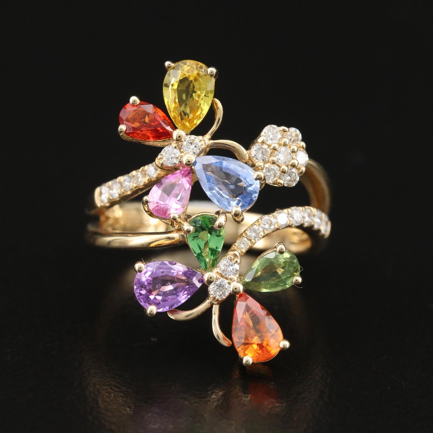 EFFY 14K Sapphire, Diamond and Gemstone Butterfly Ring