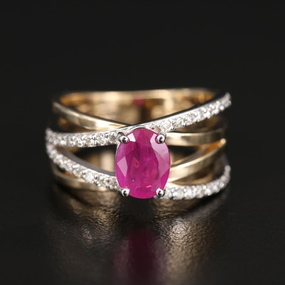 EFFY 14K 1.23 CT Ruby and Diamond Crossover Ring