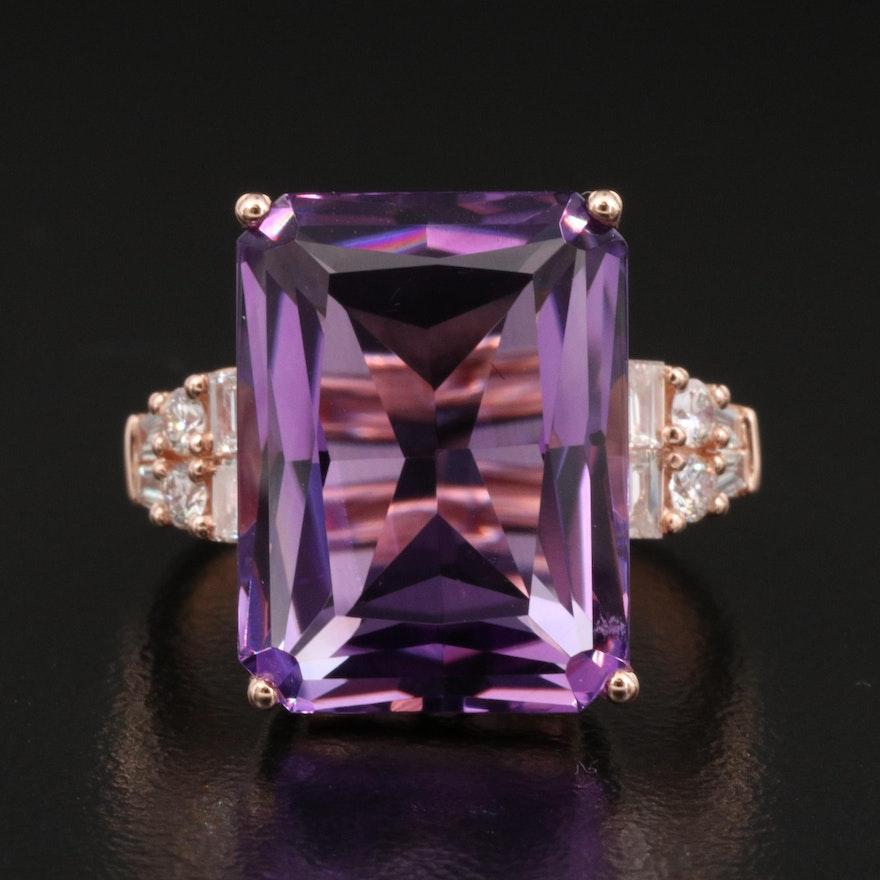 EFFY 14K Rose Gold 11.50 CT Amethyst and Diamond Ring
