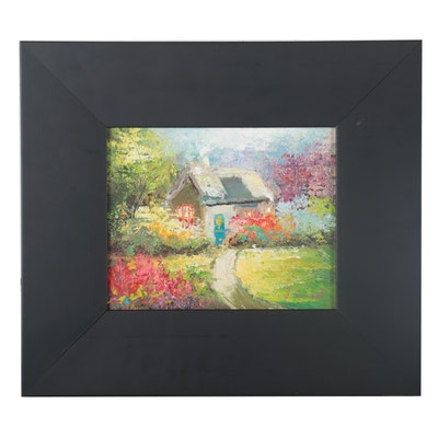 Cottage Garden Landscape Oil Painting, 21st Century