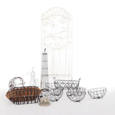 Metal Garden Trellis, Hanging Wire Planters, Rabbit Sculptures, and Other Decor