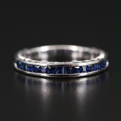 EFFY 18K Sapphire Channel Band with Engraved Detail