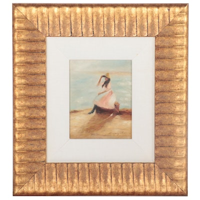 "Oil Painting after Philip Wilson Steer ""Young Woman at the Beach"""