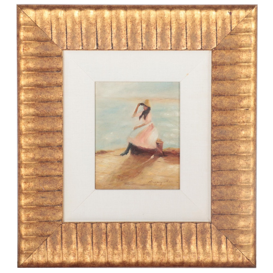"""Oil Painting after Philip Wilson Steer """"Young Woman at the Beach"""""""
