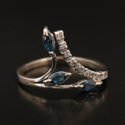 14K Sapphire and Diamond Foliate Bypass Ring