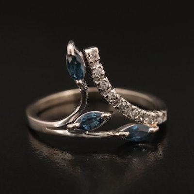 14K Sapphire and Diamond Foliate Bypass Ring