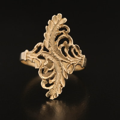 14K Foliate Bypass Ring