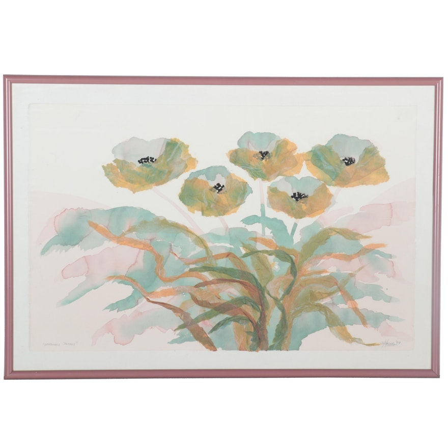 "Embellished Watercolor Painting ""Verdigris Poppys,"" 1987"