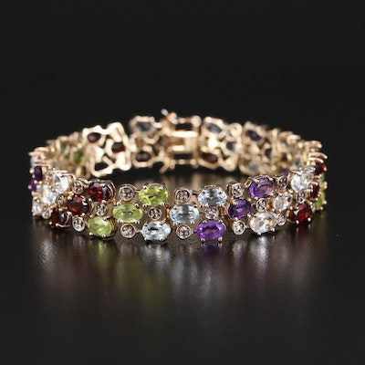 Sterling Triple Row Bracelet with Amethyst, Peridot and Garnet